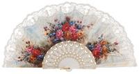 Abanico plástico colección flores 295BLA