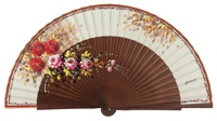 "Hand painted fan with ""damta"" wood 3001NAT"