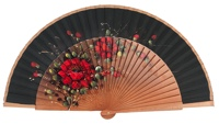 Hand painted pear wood fan 3011NEG