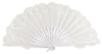 Wooden fan with lace 3039BBB