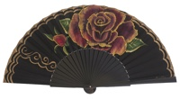 Hand painted birch wood fan 3085NEG