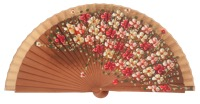 Hand painted pear wood fan 3101AVE