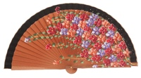 Hand painted pear wood fan 3101NEG