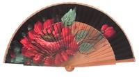 Hand painted pear wood fan 3117NEG