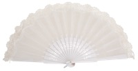Birch wood fan with lace 3134BLA