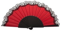 Birch wood fan with lace 3135NRN