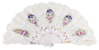 Hand painted birch wood fan 3138BBB