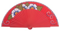 Hand painted birch wood fan 3142ROJ