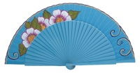Hand painted birch wood fan 3142TUR