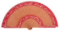 Hand painted pear wood fan 3152ROJ