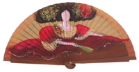 Hand painted fagus wood fan 3175NOG