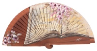 Hand painted fagus wood fan 3183NOG