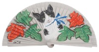 Hand painted fagus wood fan 3196PLA