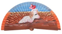 Hand painted fagus wood fan 3199NOG