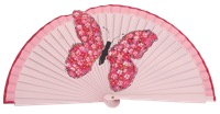 Hand painted fagus wood fan 3214ROS
