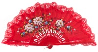 Hand painted birch wood fan 3219ROJ