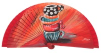 Hand painted fagus wood fan 3227ROJ