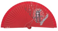 Hand painted fagus wood fan 3235ROJ