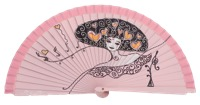 Hand painted fagus wood fan 3236ROS