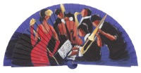 Hand painted fagus wood fan 3243VIO