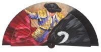 Hand painted fagus wood fan 3245NEG