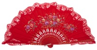 Hand painted birch wood fan 3253ROJ