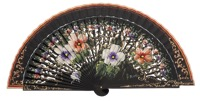 Hand painted pear wood fan 3273NEG