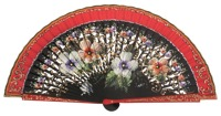 Hand painted pear wood fan 3274ROJ