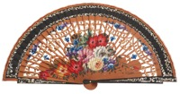 Hand painted pear wood fan 3275NEG