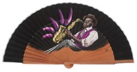 Hand painted pear wood fan 3283NEG
