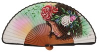 Hand painted pear wood fan 3291BLA