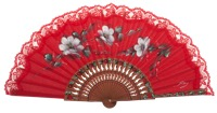 Fantasy pear wooden fan 3317ROJ