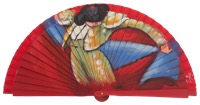 Hand painted fagus wood fan 3331ROJ