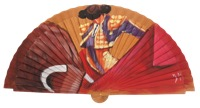 Hand painted fagus wood fan 3332AVE