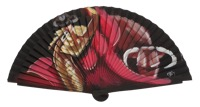 Hand painted fagus wood fan 3333NEG