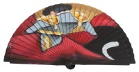 Hand painted fagus wood fan 3334NEG