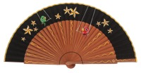 Hand painted pear wood fan 3340NEG