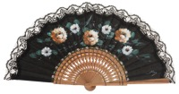 Hand painted oak wood fan 3350NEG