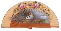 Hand painted pear wood fan 3362AVE
