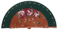 Hand painted pear wood fan 3364VBO