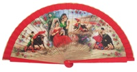 Wooden fan folklore collections 4228ROJ