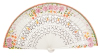 Hand painted birch wood fan 4237BLA