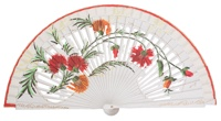 Hand painted birch wood fan 4289BLA