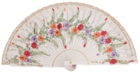 Hand painted birch wood fan 4468BLA