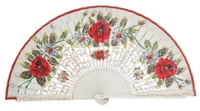 Hand painted birch wood fan 4472BLA