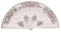 Hand painted birch wood fan 4492BLA