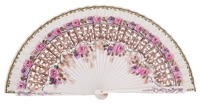 Hand painted birch wood fan 4497BLA