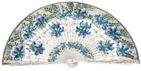 Hand painted birch wood fan 4547BLA