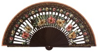Hand painted birch wood fan 4588MRR