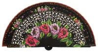 Hand painted birch wood fan 4592NEG
